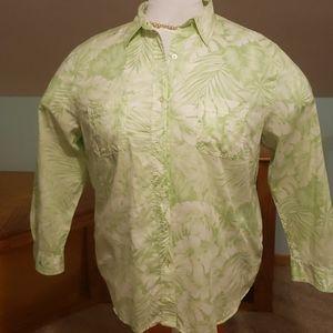 Ralph Lauren Hawaiian lime green shirt blouse.